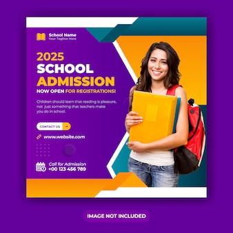 Mídia social de admissão na escola postar banner ou modelo de banner do instagram square design para você