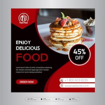 Mídia social de alimentos e web banner