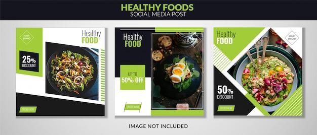 Mídia social de alimentos postar banner