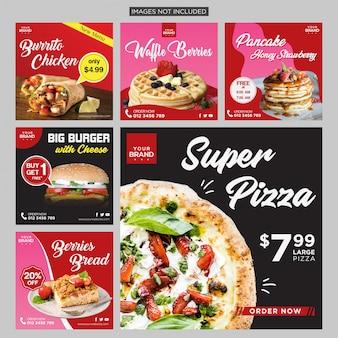 Mídia social de alimentos postar modelo de design