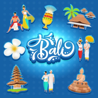 Mídia social de bali postar maquete. ilha indonésia. cultura asiática. modelo de design de banner web de publicidade. reforço de mídia social, layout de conteúdo. cartaz de promoção, anúncios impressos, ilustrações planas, adesivos