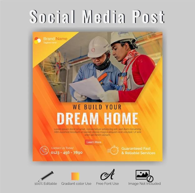 Mídia social de construção ou vetor premium de modelo pós-instagram