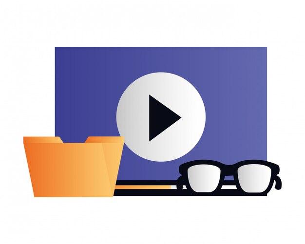 Mídia social de conteúdo de vídeo de arquivo de pasta