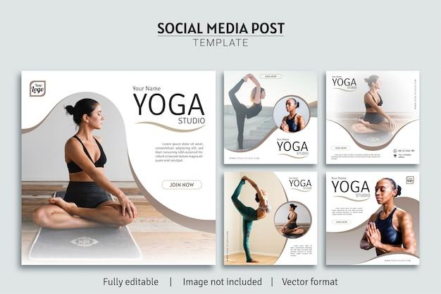 Mídia social de estúdio de ioga postar coleção premium de design de modelo