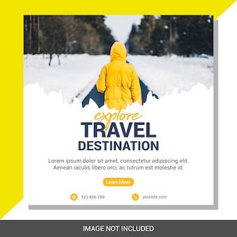Mídia social de férias viagens postar modelo de banner quadrado