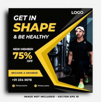 Mídia social de ginásio fitness postar modelo de banner