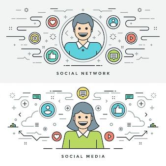 Mídia social de linha plana e ilustração do conceito de rede