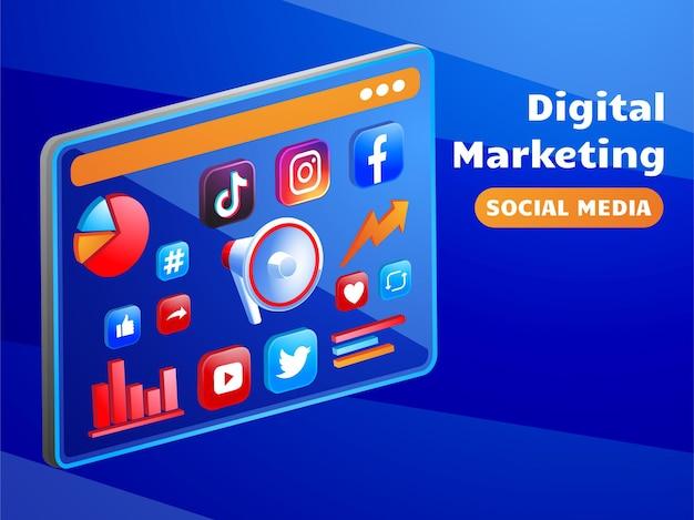 Mídia social de marketing digital com megafone