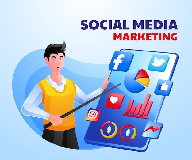 Mídia social de marketing digital com um homem e um smartphone
