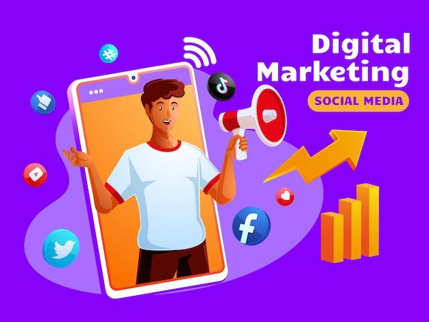 Mídia social de marketing digital com um homem negro e o símbolo de um smartphone