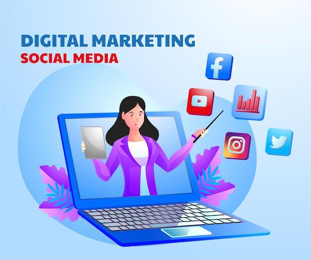 Mídia social de marketing digital com uma mulher e um símbolo de laptop