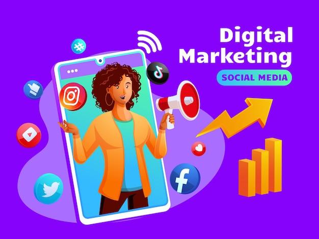 Mídia social de marketing digital com uma mulher negra e o símbolo de um smartphone