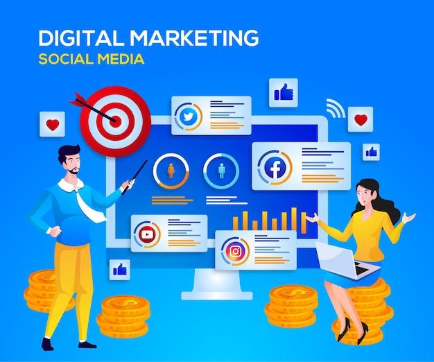 Mídia social de marketing digital e análise de dados