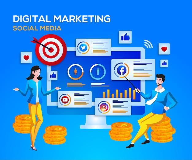Mídia social de marketing digital e análise de dados Vetor Premium