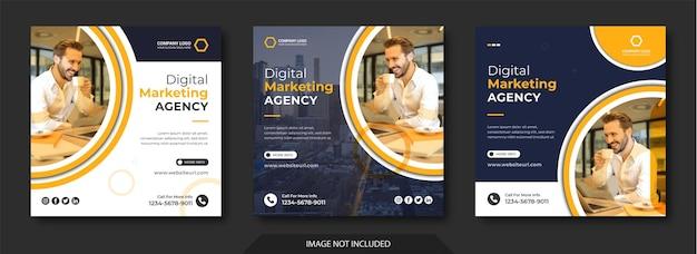 Mídia social de marketing digital e modelo de postagem no instagram