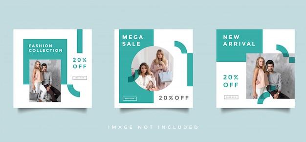Mídia social de moda alimenta coleção de vetor de design de promoção de postagem