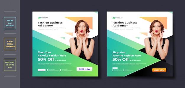 Mídia social de negócios de moda postar modelo de banner
