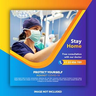 Mídia social de saúde médica sobre coronavírus. ficar em casa salvar vidas. pare o coronavírus