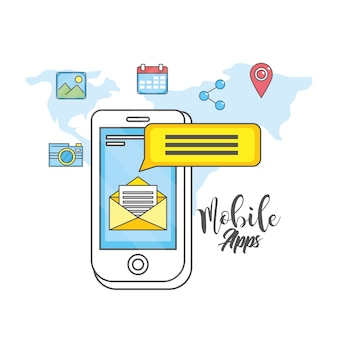 Mídia social de tecnologia de aplicativos de smartphone