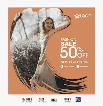 Mídia social de venda de moda e banner da web