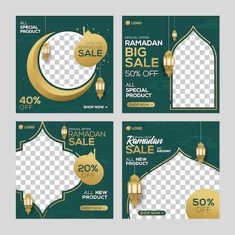 Mídia social de venda de ramadan postar anúncio de banners de modelo