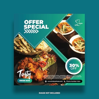 Mídia social deliciosa comida abstrata oferta especial postar modelo de promoção colorida
