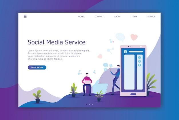Mídia social design plano moderno da página de destino
