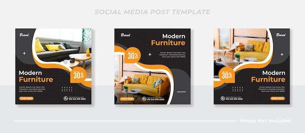 Mídia social do furniture e modelo de postagem do instagram