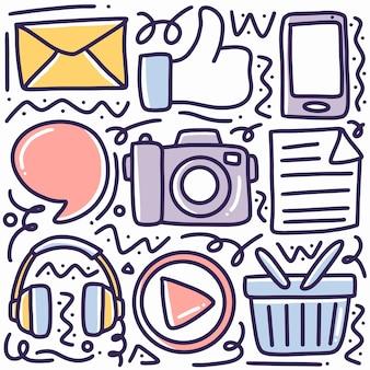 Mídia social doodle desenhado à mão com ícones e elementos de design