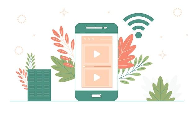 Mídia social e conceito de computação em nuvem, seo, saas, aplicativos de vídeo e ilustração de desenvolvimento web.