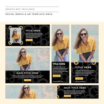 Mídia social e pacote do modelo de anúncio