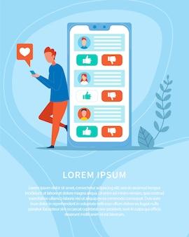Mídia social e rede de publicidade em banner