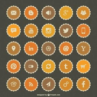Mídia social emblemas vetor livre