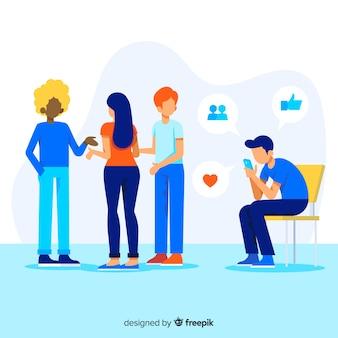 Mídia social está matando o conceito de amizade com ilustração