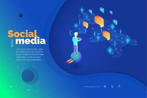 Mídia social global um homem com um tablet interage com usuários de redes sociais em todo o mundo. ilustração em vetor moderna abstração