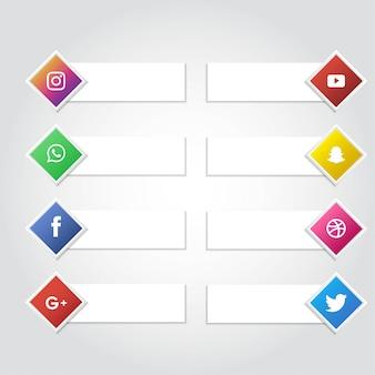 Mídia social ícone banner coleção vector background