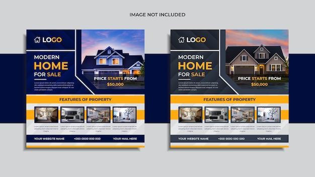Mídia social imobiliária moderna pós-design 2 em 1 pacote com formas abstratas de cor azul e cinza e dados.