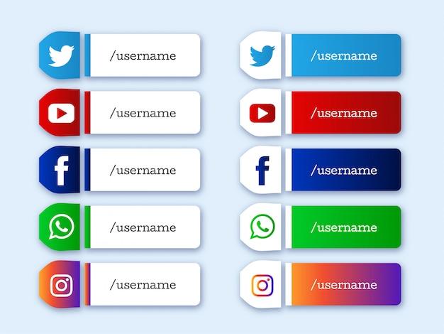 Mídia social inferior terceiro conjunto de ícones modernos