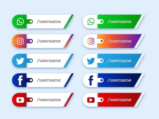 Mídia social inferior terço design de ícones