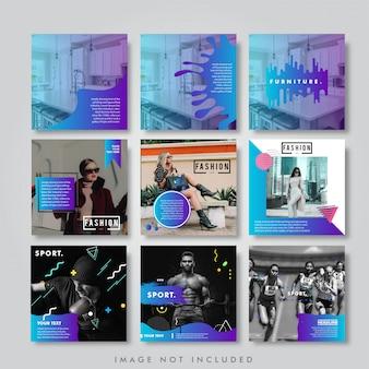 Mídia social instagram feed pack lookbook