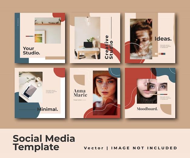 Mídia social instagram feed post banner conjunto