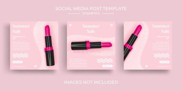 Mídia social instagram post feed pacote kit cosméticos modelo