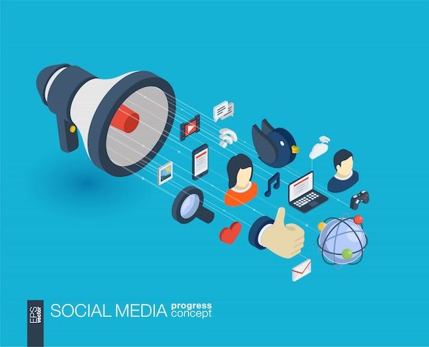 Mídia social integrado ícones da web. conceito de progresso isométrico de rede digital. sistema de crescimento de linha gráfica conectada. plano de fundo para o serviço de mercado, comunicar e compartilhar. infograph