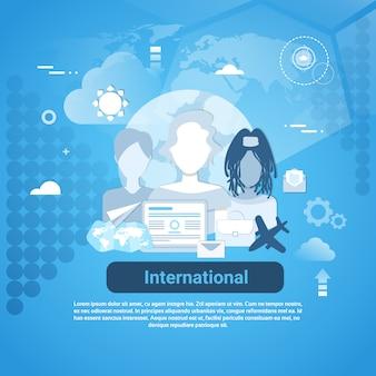 Mídia social internacional comunicação web banner com espaço da cópia no fundo azul
