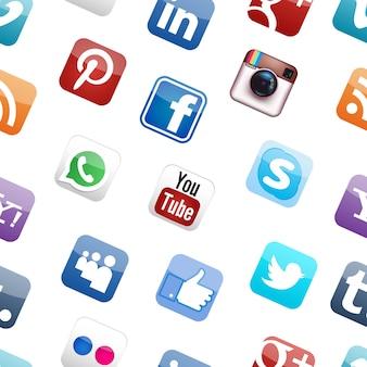 Mídia social logotipo padrão sem emenda fundo branco