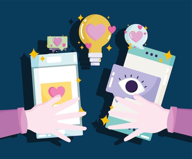 Mídia social, mãos com visualizações de bate-papo no smartphone seguem ilustração de amor