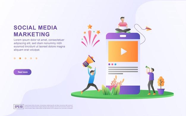 Mídia social marketing conceito de ilustração. marketing digital, indique um amigo nas redes sociais, compartilhando ou escrevendo comentários.