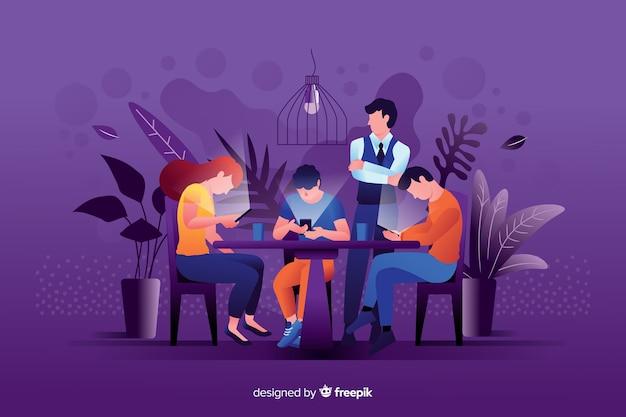 Mídia social matando o conceito de amizade ilustrado