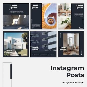 Mídia social minimalista azul escuro instagram post