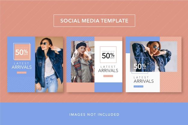 Mídia social modelo pêssego e azul